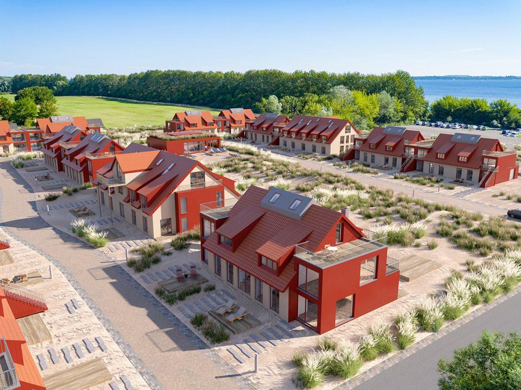 Baugenehmigung für das neue Ferienresort Bades Huk an der Ostseeküste liegt vor. Inmitten des Naturschutzgebiets und umgeben von Marina, Strand und Golfplatz entstehen 77 Ferienimmobilien mit einem Resort-Konzept.